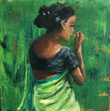 """Painting titled """"The green sari"""" by Laurence Blanchard, Original Art, Oil"""