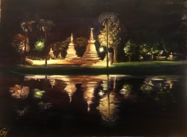 """Painting titled """"Temples at night -…"""" by Laurence Blanchard, Original Art, Oil"""