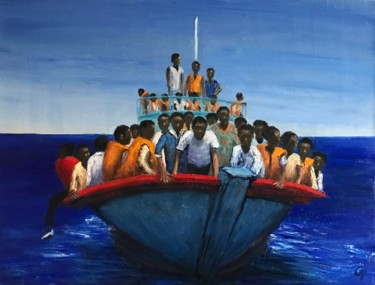 """Painting titled """"Migrants - Somewher…"""" by Laurence Blanchard, Original Art, Oil"""