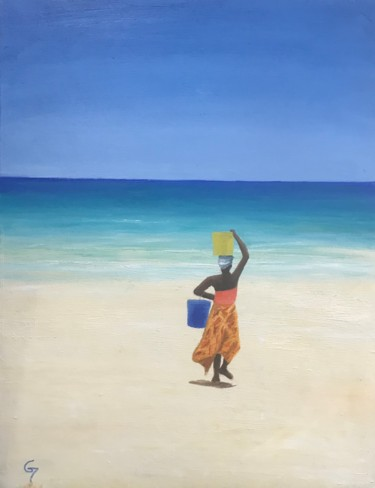 """Painting titled """"Cabaceira beach - M…"""" by Laurence Blanchard, Original Art, Oil"""