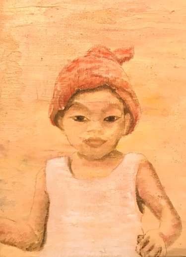 """Painting titled """"little boy - Cambod…"""" by Laurence Blanchard, Original Art, Oil"""