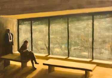 """Painting titled """"Reading at the MoMA…"""" by Laurence Blanchard, Original Art, Oil"""