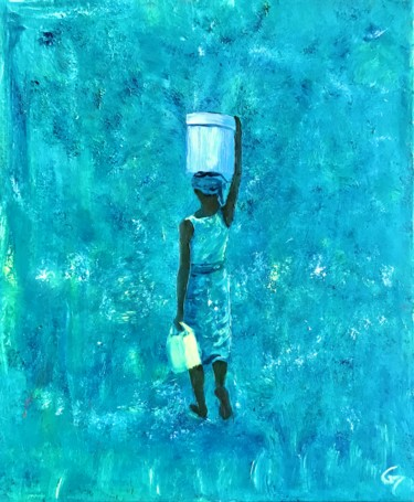 """Painting titled """"Blue Mozambique"""" by Laurence Blanchard, Original Art, Oil"""