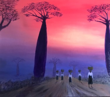 """Painting titled """"The alley of baobab…"""" by Laurence Blanchard, Original Art, Oil"""