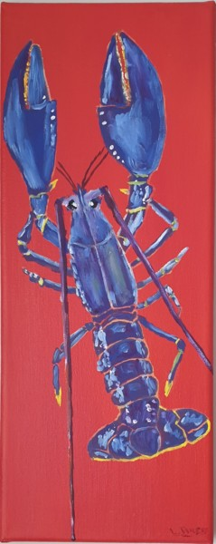 """Painting titled """"BLUE LOBSTER"""" by Laurent Arese, Original Art, Oil Mounted on Stretcher frame"""