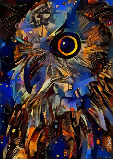 """Painting titled """"Bu carnaval, owl -…"""" by L.Roche, Original Art, Acrylic"""
