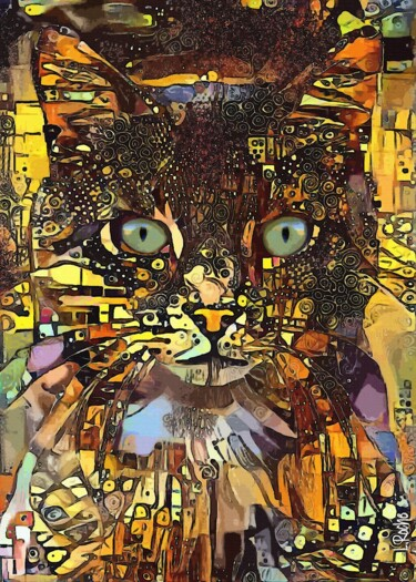 """Painting titled """"Jany, cat - Mix med…"""" by L.Roche, Original Art, Acrylic"""