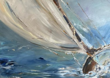 """Painting titled """"Sailing"""" by Barbara Lebert, Original Art, Oil Mounted on Stretcher frame"""