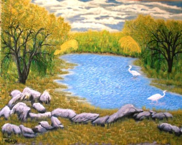"""Painting titled """"Blue-Swamp.jpg"""" by Ngash, Original Art, Oil Mounted on Stretcher frame"""