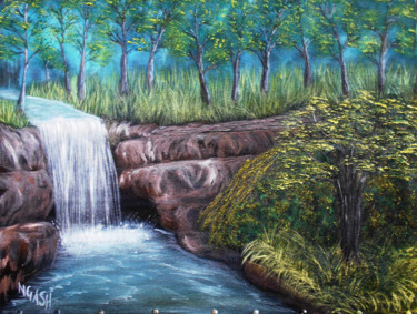 """Painting titled """"Forest Waterfall.jpg"""" by Ngash, Original Art, Oil Mounted on Stretcher frame"""