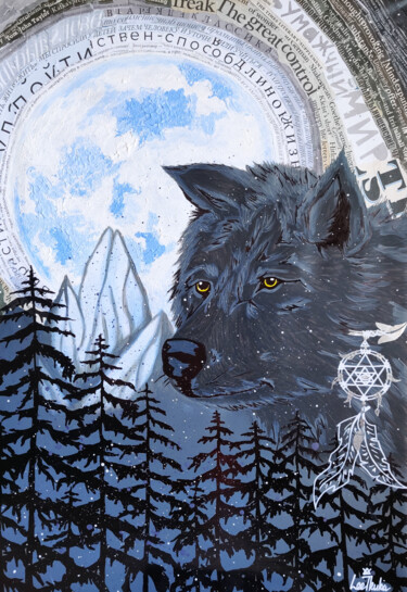 """Collages titled """"WOLF - animals, wil…"""" by Leetruka, Original Art, Acrylic"""