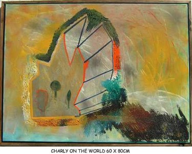 """Painting titled """"charly on the world…"""" by Left Hand Georges, Original Art,"""