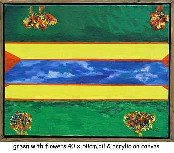 """Painting titled """"green with flowers"""" by Left Hand Georges, Original Art,"""