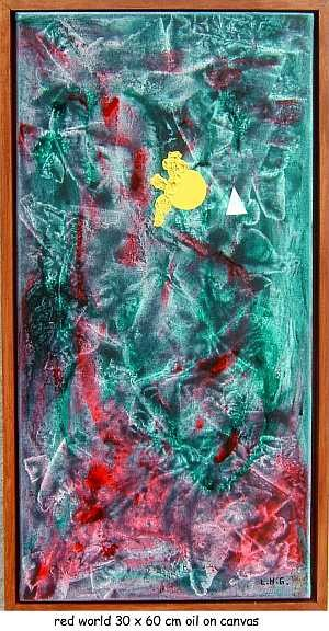 """Painting titled """"red world"""" by Left Hand Georges, Original Art,"""