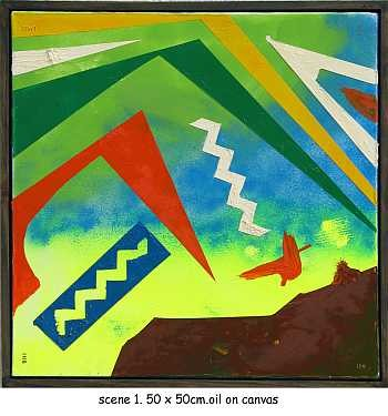 """Painting titled """"scene 1"""" by Left Hand Georges, Original Art,"""