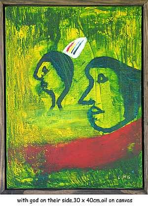 """Painting titled """"with god on their s…"""" by Left Hand Georges, Original Art,"""