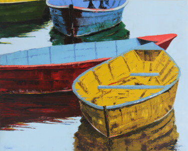"""Painting titled """"Boats on the lake"""" by Helen Hill, Original Art, Oil"""