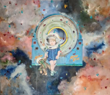 """Painting titled """"Spacebaby and Space…"""" by Lena Applebaum, Original Art, Oil"""
