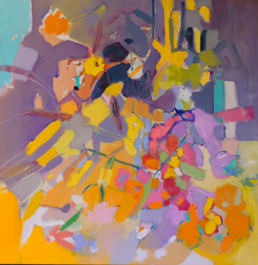 """Painting titled """"Yellow Flowers Gard…"""" by Еlena Shraibman, Original Art, Oil Mounted on Stretcher frame"""