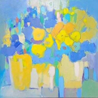 """Painting titled """"Yellow on Blue"""" by Еlena Shraibman, Original Art, Oil Mounted on Stretcher frame"""