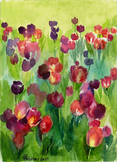 """Painting titled """"Tulips 1"""" by Elena Tolunay, Original Art, Watercolor"""
