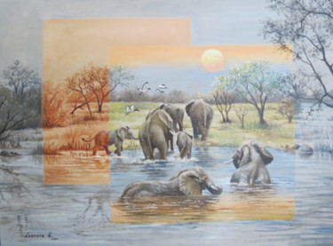 """Painting titled """"Last Swim for the D…"""" by Leonora De Lange, Original Art, Oil Mounted on Cardboard"""