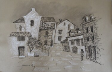 """Drawing titled """"Quirky Kastela - Cr…"""" by Leonora De Lange, Original Art, Charcoal"""