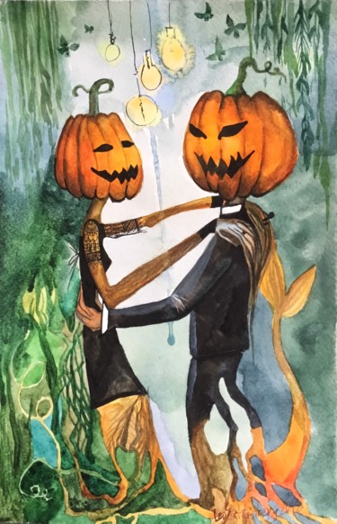 """Painting titled """"A Date"""" by Leo Schteinberg, Original Art, Watercolor"""