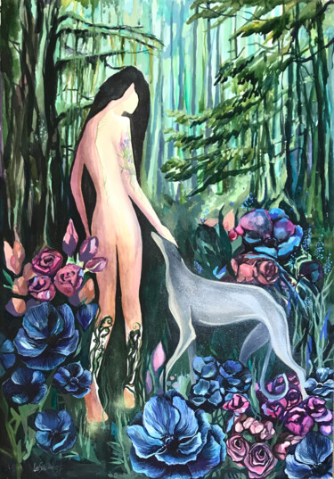 """Painting titled """"Spirit of the Forest"""" by Leo Schteinberg, Original Art, Watercolor"""