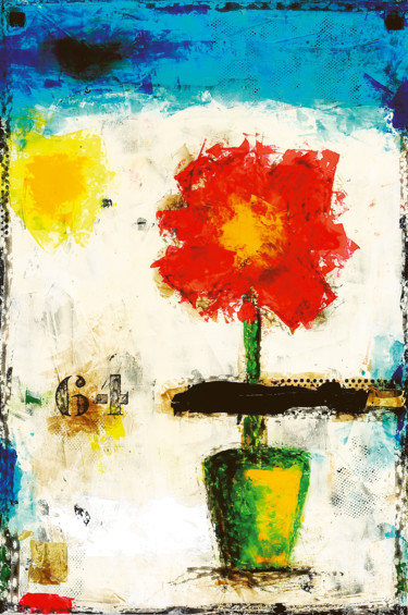 """Painting titled """"RED FLOWER"""" by Letullier Philippe, Original Art, Acrylic"""