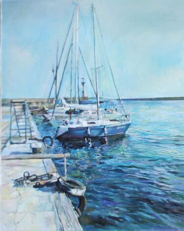"""Painting titled """"Seascape in blue"""" by George Mirinchev, Original Art, Oil"""