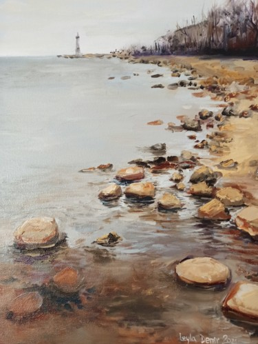 """Painting titled """"The shore of Lake L…"""" by Leyla Demir, Original Art, Oil"""