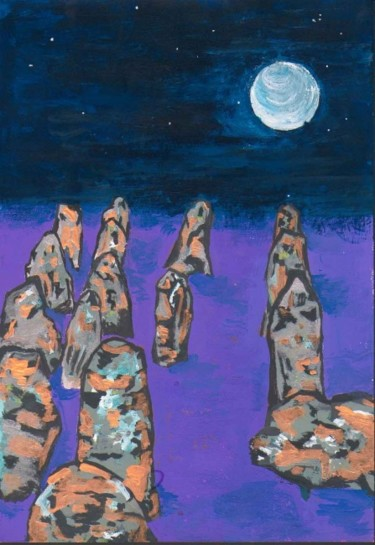 """Painting titled """"Menhirs (men here?)"""" by L. F. Q. B. (Le Feu Qui Brule), Original Art, Other"""
