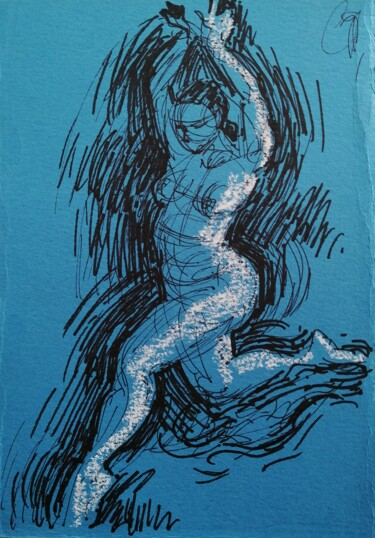 """Drawing titled """"Female Figure In Bl…"""" by Liam Ryan, Original Art, Ink"""
