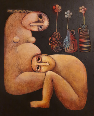 """Painting titled """"Birth (Acrylic pain…"""" by Liana Asatryan, Original Art, Oil Mounted on Stretcher frame"""