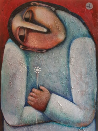 """Painting titled """"Alone (30x40cm, acr…"""" by Liana Asatryan, Original Art, Oil Mounted on Stretcher frame"""