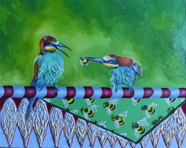 """Painting titled """"Just feed me"""" by Yuliya Liber, Original Art, Oil Mounted on Stretcher frame"""