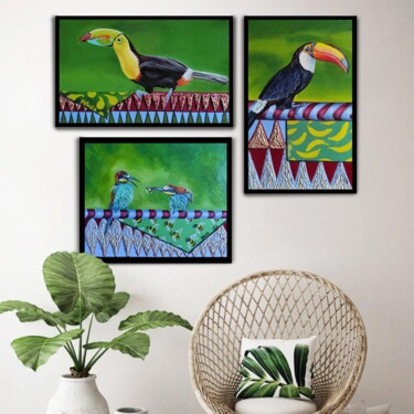 """Painting titled """"Triptych """" A green…"""" by Yuliya Liber, Original Art, Oil"""