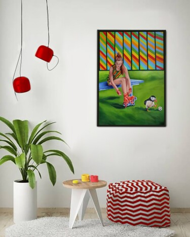 """Painting titled """"Roller blades with…"""" by Yuliya Liber, Original Art, Oil"""