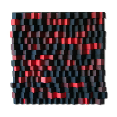 """Painting titled """"Fire / Black and Re…"""" by Liliana Stoica, Original Art, Acrylic Mounted on Wood Panel"""