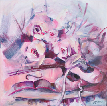 """Painting titled """"Ballerines et violon"""" by Liliane Paumier, Original Art, Acrylic Mounted on Stretcher frame"""