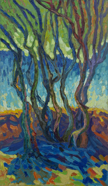 Forest Painting, oil, expressionism, artwork by Lilit Vardanyan