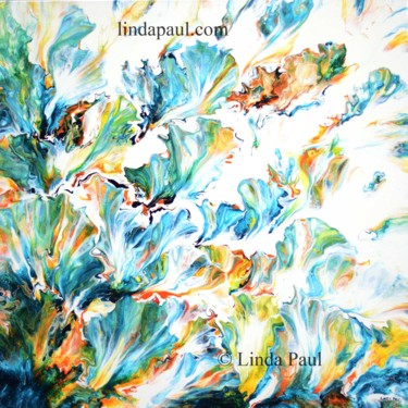 """Painting titled """"Turquoise abstract…"""" by Linda Paul, Original Art, Acrylic"""