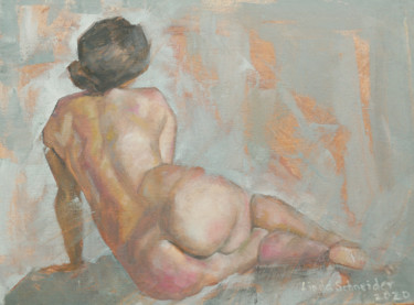 """Painting titled """"Back of a Nude"""" by Linda Schneider, Original Art, Oil"""