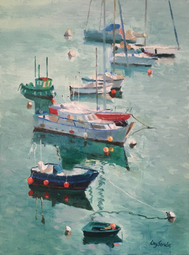 Boat Painting, oil, impressionism, artwork by Ling Strube