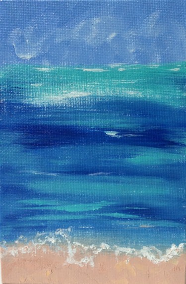 """Painting titled """"Seascape small canv…"""" by Olga Ivanova, Original Art, Oil Mounted on Cardboard"""