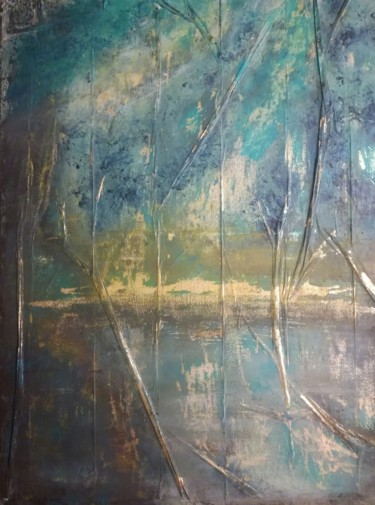 """Painting titled """"Gold reflexion"""" by Lisa Steeven, Original Art, Acrylic"""