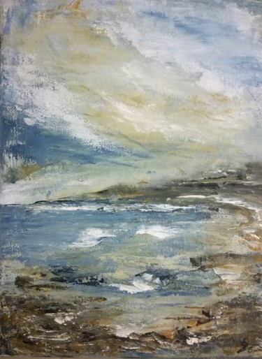 """Painting titled """"Cloudy coast"""" by Lisa Steeven, Original Art, Acrylic"""