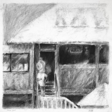 Architecture Drawing, charcoal, expressionism, artwork by Lisa Tennant