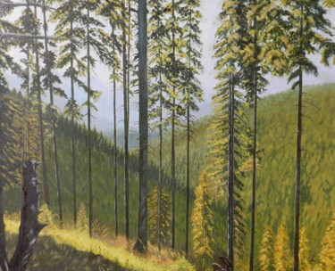 """Painting titled """"Mountains emerging…"""" by Livia Doina Stanciu, Original Art, Oil Mounted on Stretcher frame"""